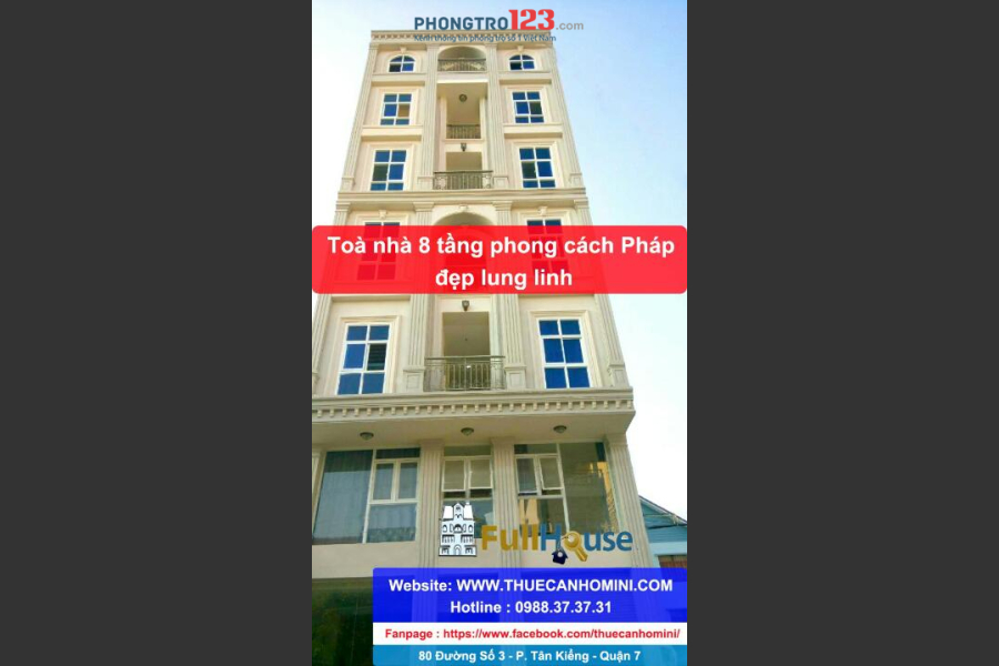 Ngay Lotte Q.7, đã nghiệm thu an toàn PCCC - Phòng cao cấp chỉ từ 3tr-5tr/tháng - Tòa nhà 8 tầng mới đẹp - Alo 0988.373.731