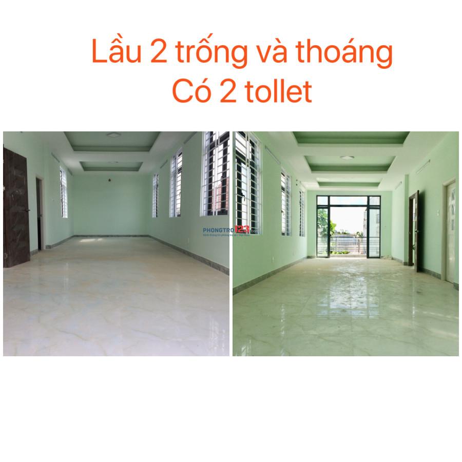 Cho thuê nhà nguyên căn 1 trệt 2 lầu, có sân rộng