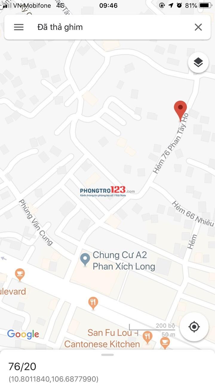 Cho thuê nhà nguyên căn hẻm xe hơi Phan Tây Hồ/Phan Xích Long, P.7, Phú Nhuận