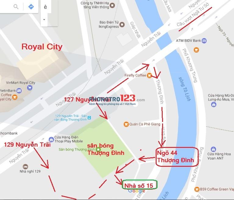 Cho thuê nhà ở ngã tư sở, sau sân Thượng Đình, đối diện Royal City