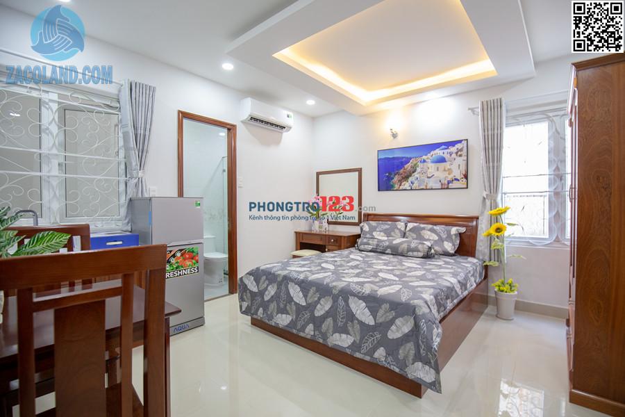 Phòng cho thuê mới xây 100%, nội thất chưa qua sử dụng, mặt tiền, sát bờ kè Nhiêu Lộc, bảo vệ 24