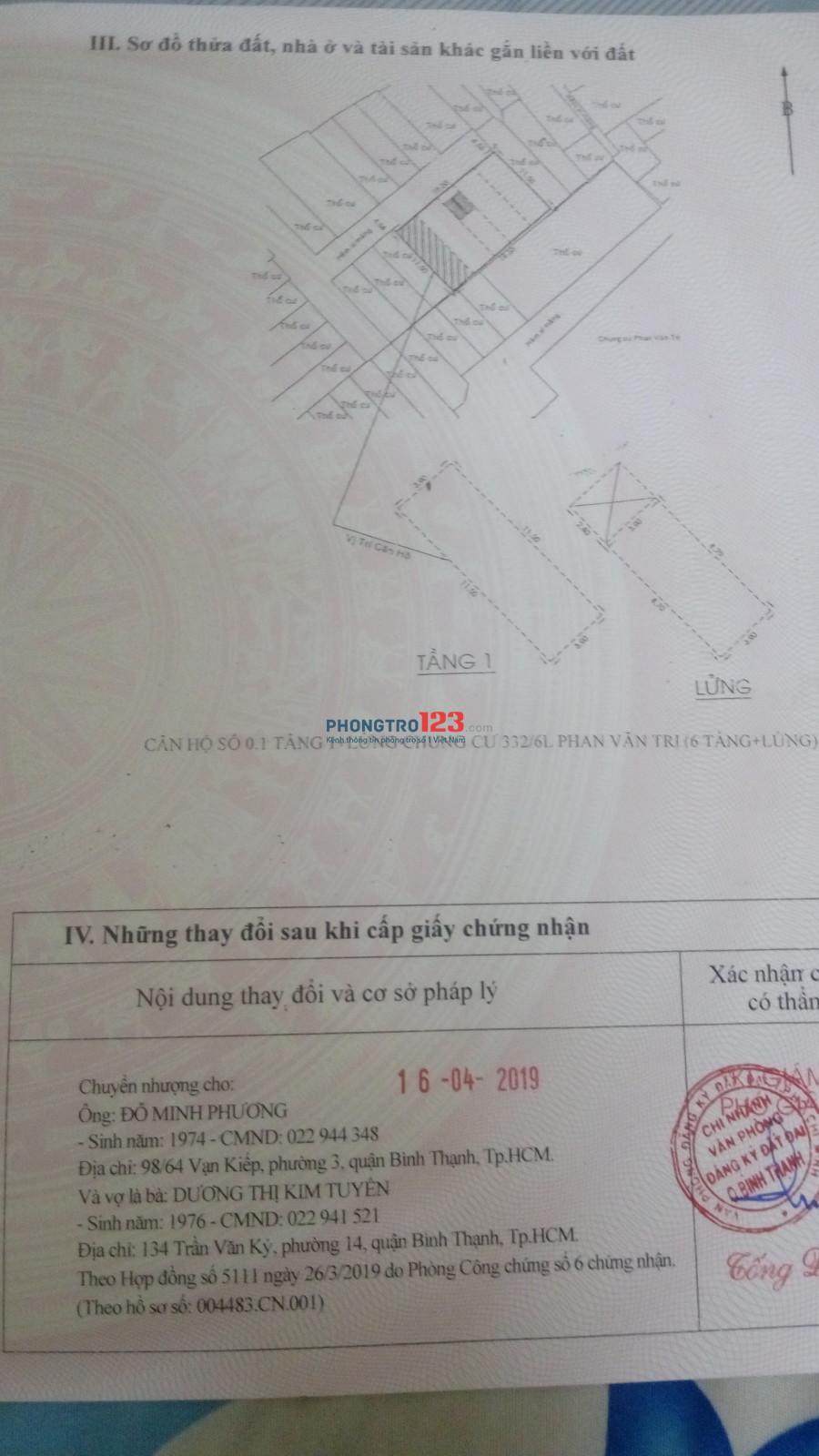 Căn hộ 332/6L cho thuê hoặc bán khu cư xá Phan Văn Trị
