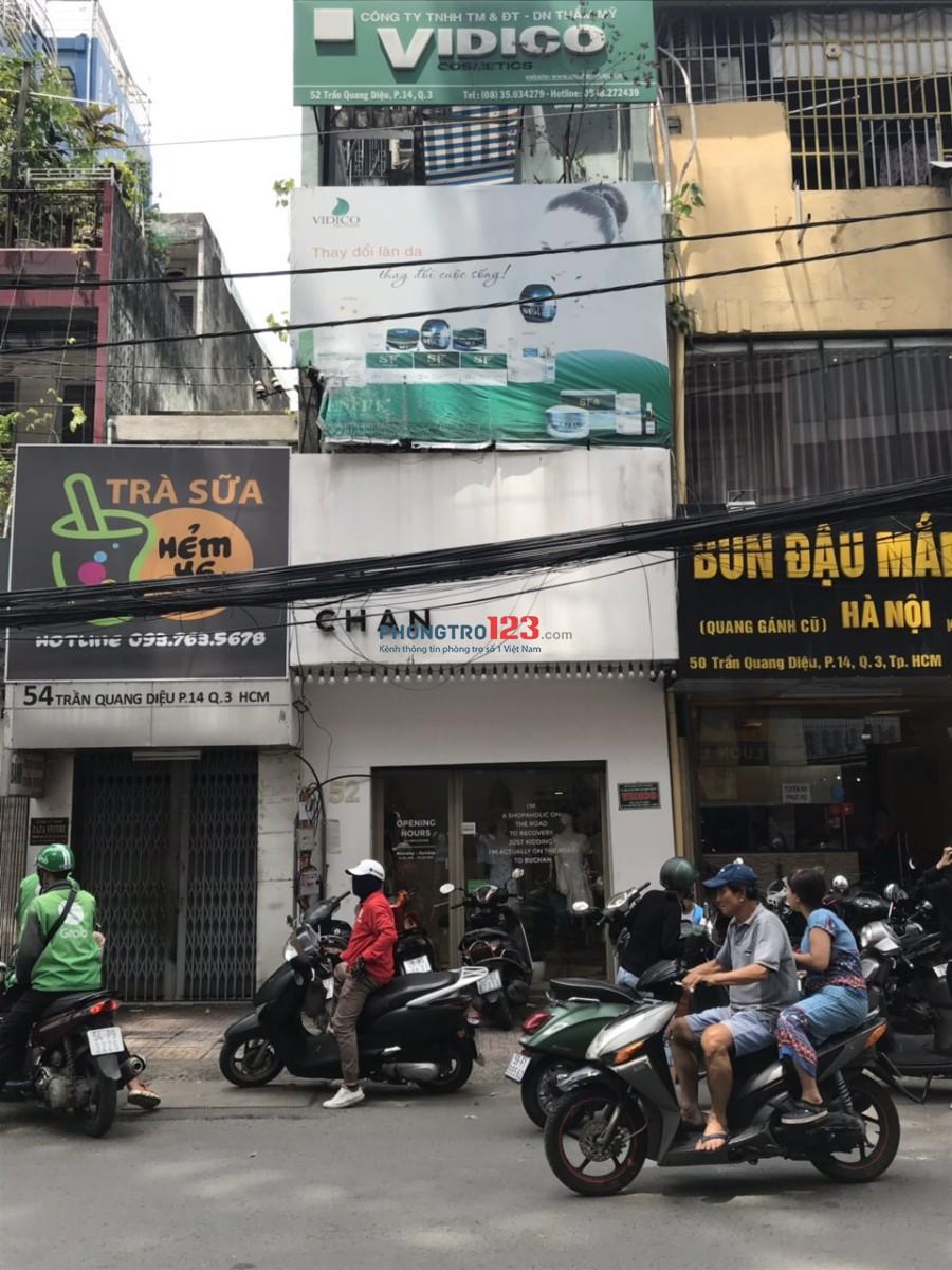 Cho thuê mặt bằng và lầu 1 mặt tiền đường Trần Quang Diệu, Q.3. LH: Ms Thu 0938272439