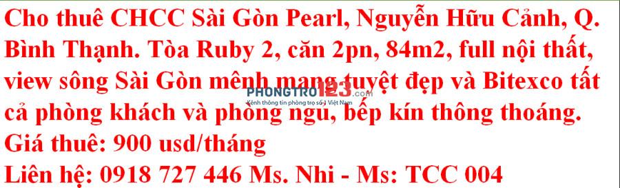 Căn hộ 2PN - Sai Gon Pearl - Liền kề Vinhome Central Park