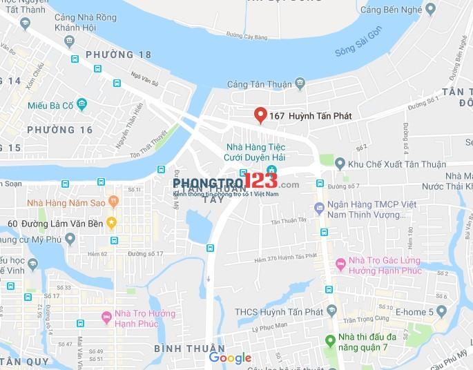 Phòng lầu 1,Gác lửng,Giờ TD,Giá 3,1tr tại 167 Huỳnh Tấn Phát, gần ĐH Nguyễn Tất Thành,cạnh KCX Tân Thuận,Q.7