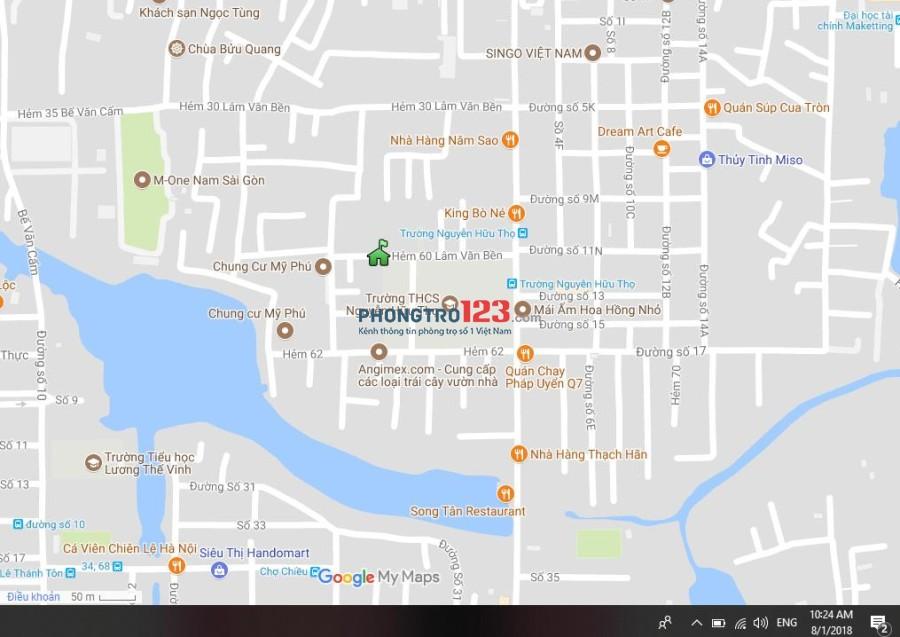 Phòng lầu 2 có Nội thất, Giờ TD, Không chung Chủ, Free để xe máy, Giá 4,5tr tại 60 Lâm Văn Bền, Cạnh CC Mỹ Phú, Q.7