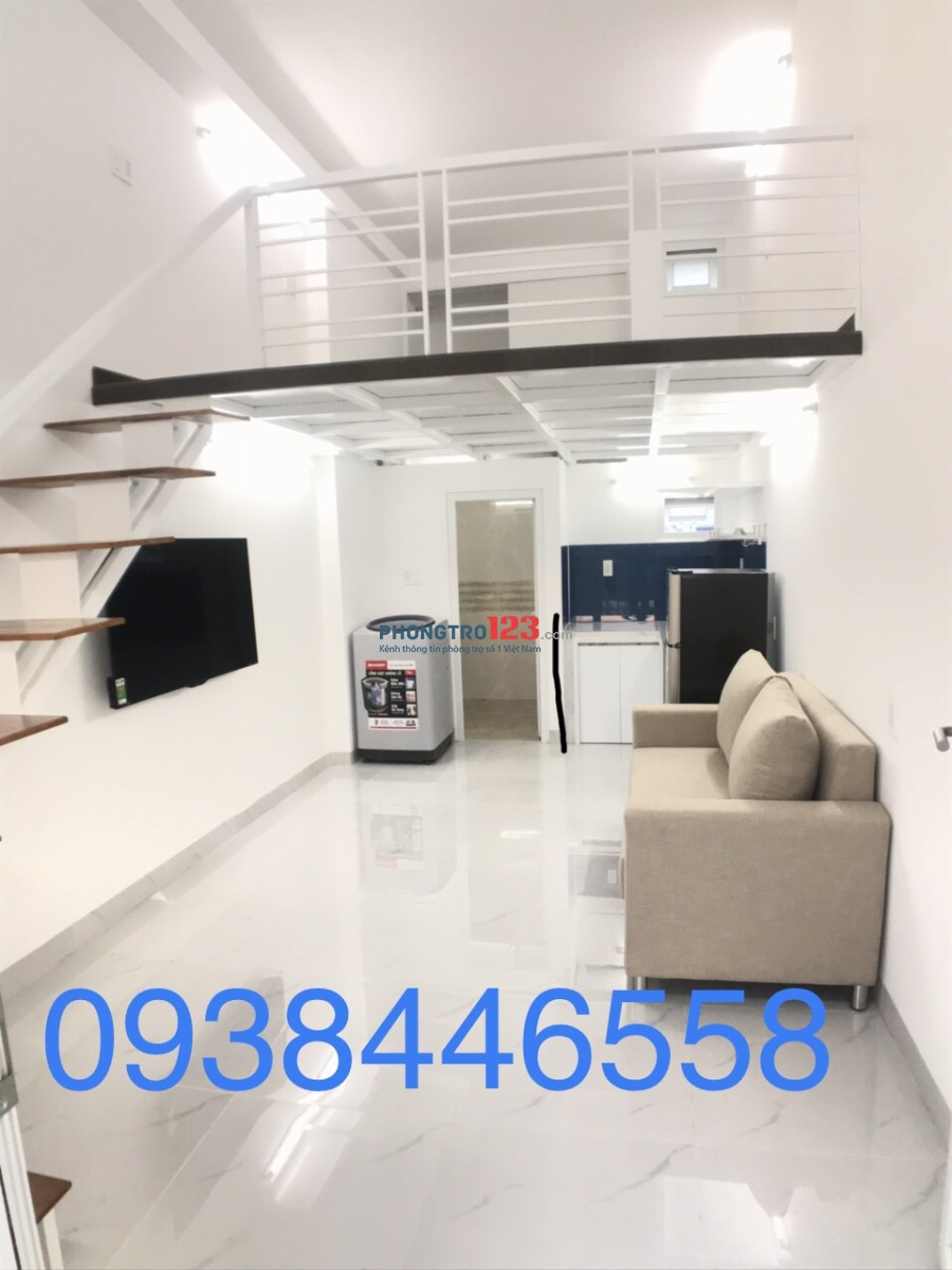 Căn hộ mini gác lửng mới xây,Full nội thất,ban công,thang máy,Giờ TD,Giá 5,3tr tại 85 N.V.Qùy,Q.7