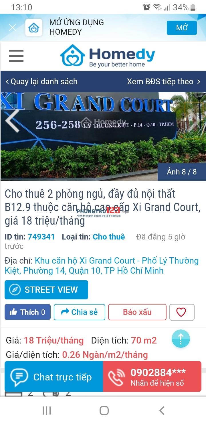 Mình đang muốn thuê căn hộ 2 phòng ngủ ở Xi Grand Court Lý Thường Kiệt. Nên tìm bạn ở ghép ạ, nam nữ điều được