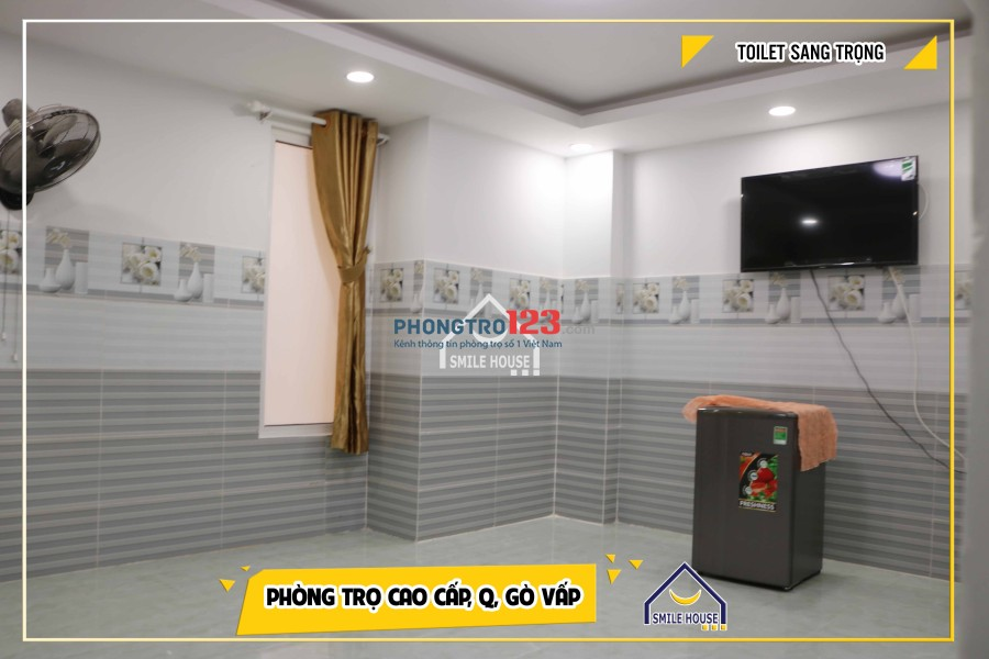 Phòng trọ mới xây, có tivi, tủ lạnh, máy lạnh ngay chợ An Nhơn đường số 30, P.6, Gò Vấp