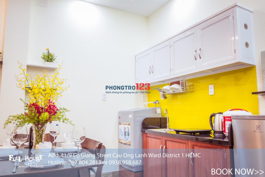 Cho thuê chung cư mini giá tốt mới 100% Phường Cầu Ông Lãnh, Trung tâm Quận 1 đến ở luôn
