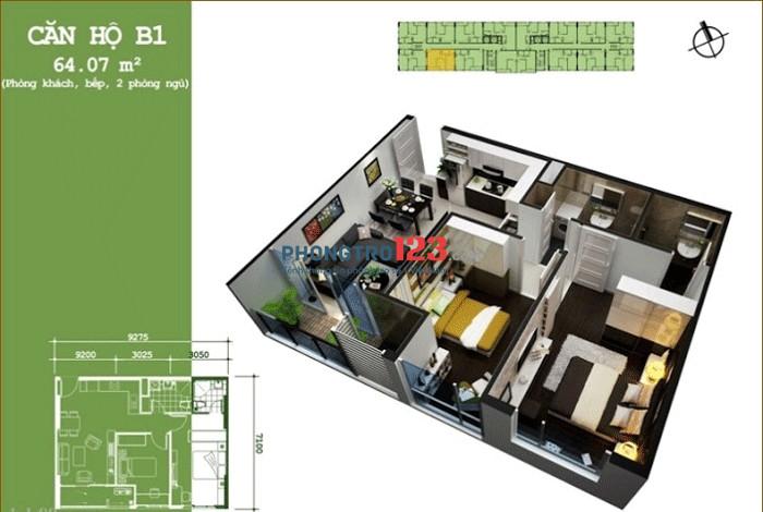 Cho thuê căn hộ 4A3 2PN tại Căn hộ Hoa Sen Q.11, giá 9 tr/tháng