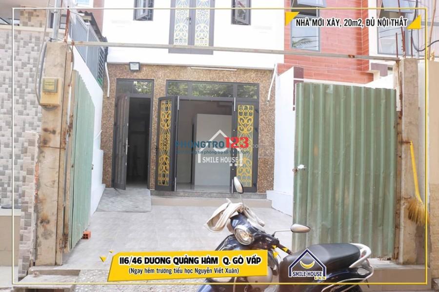 Phòng trọ mới xây 20m2 thoáng đẹp đủ nội thất 116/46 Dương Quảng Hàm, P.5, Gò Vấp
