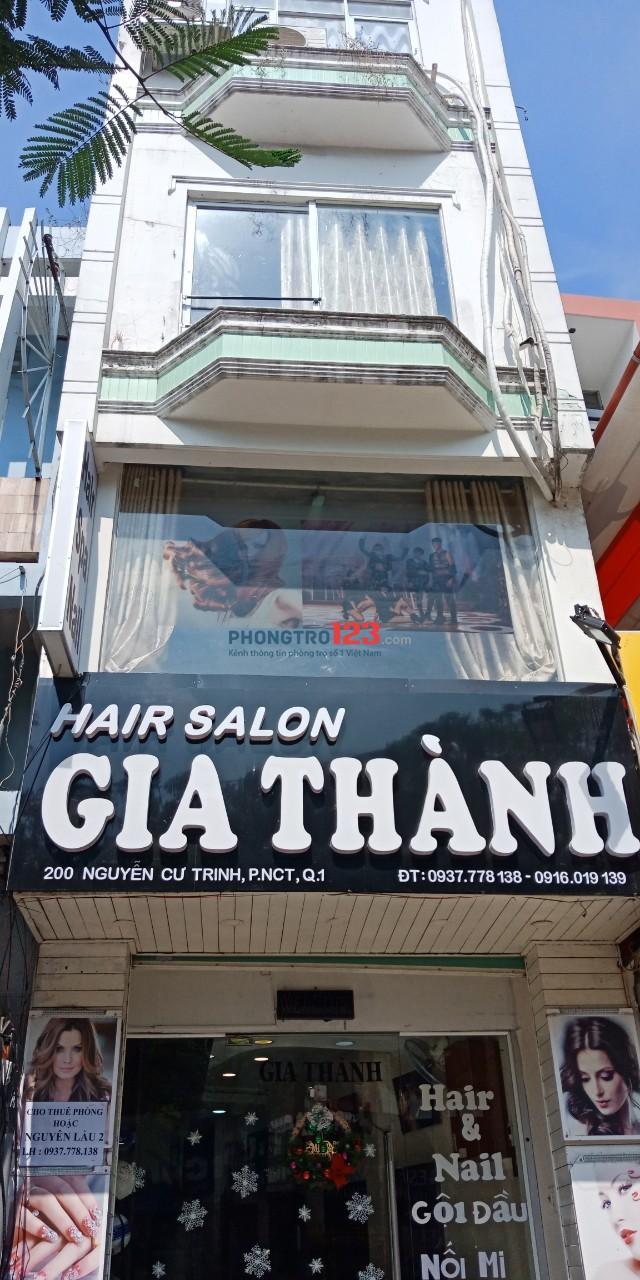 Chính chủ cho thuê mặt bằng kinh doanh lầu 1 3x10 nhà mặt tiền 200 Nguyễn Cư Trinh, Q.1. Giá 7tr