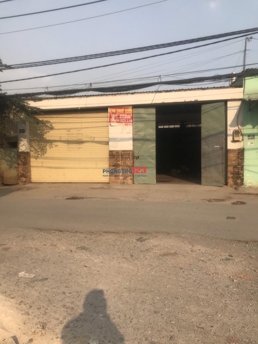Cho thuê 270m2 kinh doanh kho xưởng mặt đường lớn tại Liên Khu 4-5, Q.Bình Tân. Giá 18tr/th