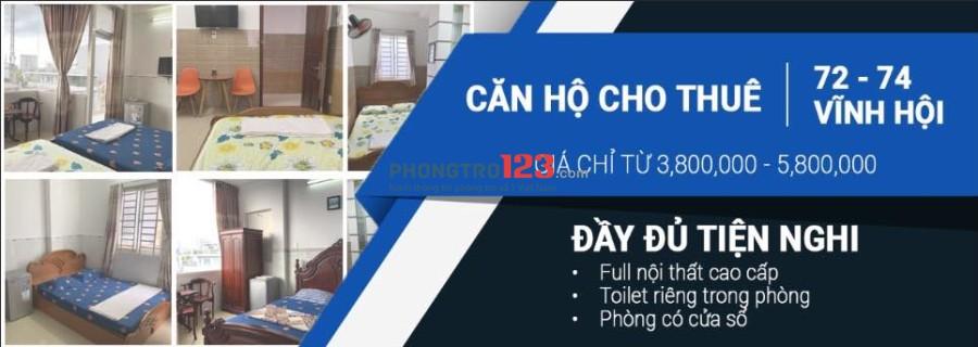 Cho thuê phòng ở cao cấp full nội thất tại quận 4. Cách ĐH Luật 1,5km