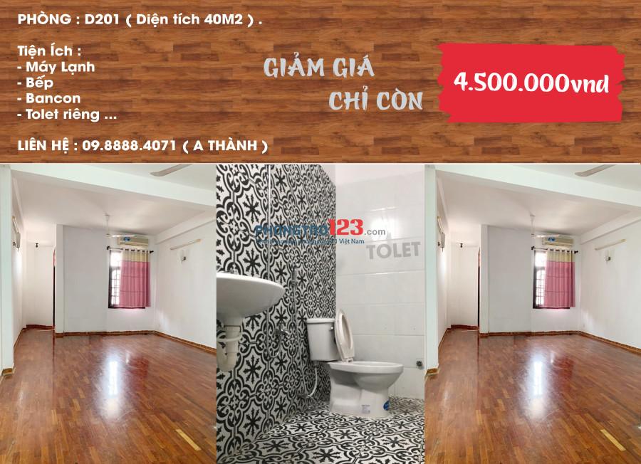 Căn hộ 1 phòng ngủ, full nội thất, rộng 60m2, TT Q.Bình Thạnh