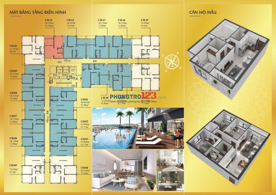Cho thuê căn hộ liền kề Sunrise Q7, 68m2 2PN, 7.5tr. Lh: 0914648319