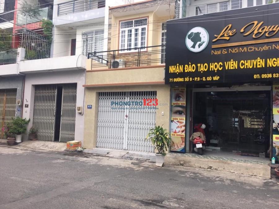 Cho thuê mặt tiền kinh doanh tại Đường số 9 Phường 9 Quận Gò Vấp. Giá Tốt Diện Tích 60m2
