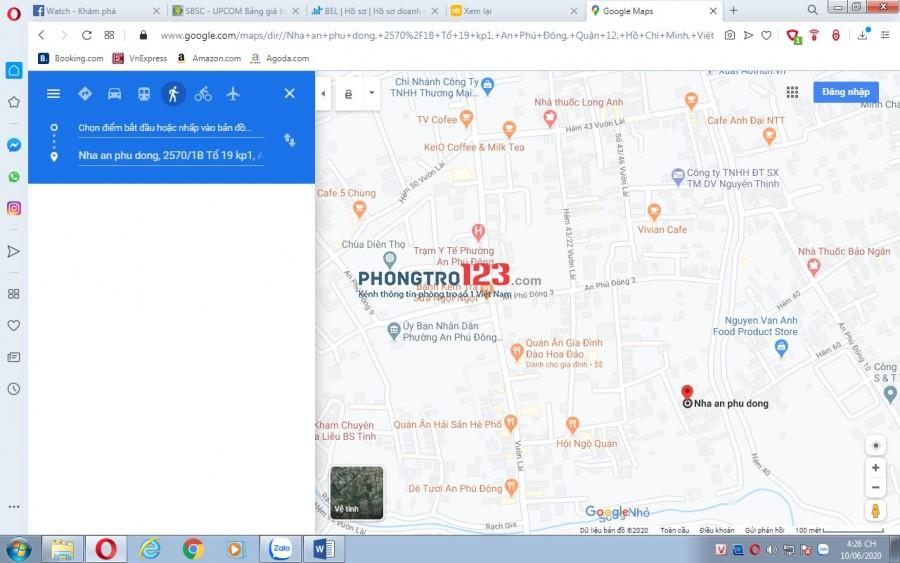 Cho thuê nhà nguyên căn, 60m2 Vườn Lài, Quận 12-Giá thuê 3tr5