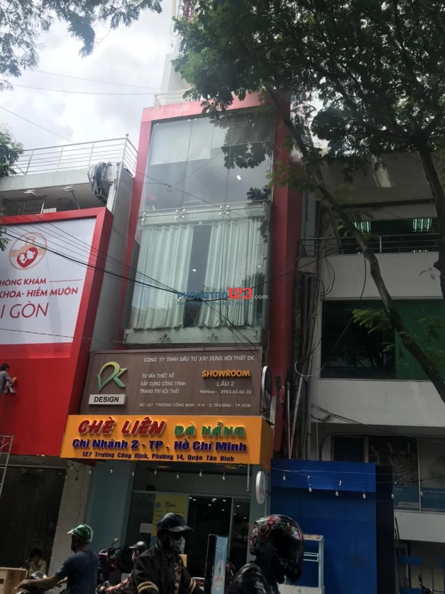 Cho thuê MB văn phòng 40m2 tầng 1 nhà mặt tiền 127 Trương Công Định, P.14, Q.Tân Bình. Gía 5tr/th