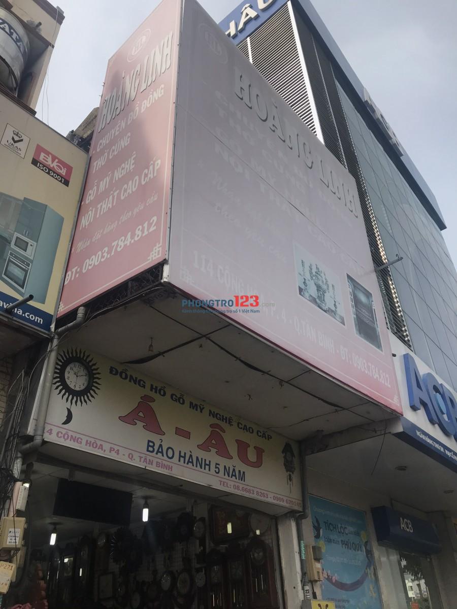 Cho thuê nhà nguyên căn 1 trệt 1 lầu mặt tiền 114 Cộng Hoà P4 Q Tân Bình