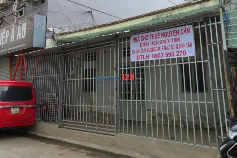 Chính chủ cho thuê nhà nguyên căn 8x18m MT Đường Cạnh công ty Pou Yen Q Bình Tân