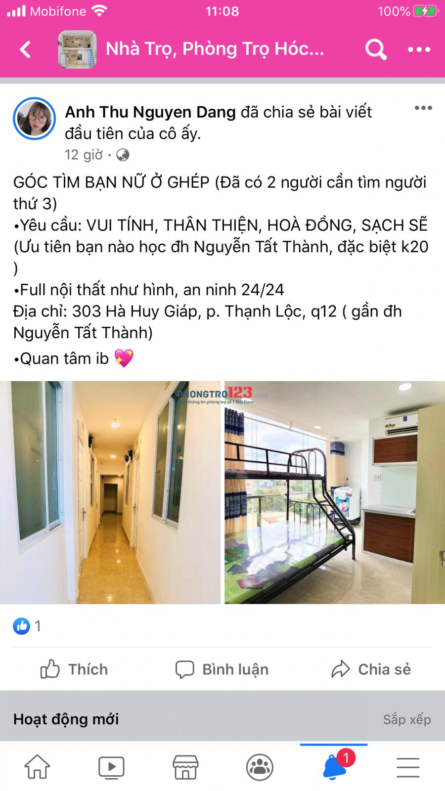 Cần tìm 1 đến 2 bạn nữ ở ghép q12 gần trường Đại học Nguyễn Tất Thành