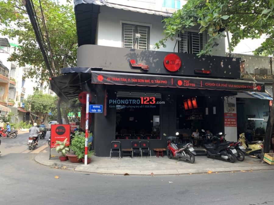 Sang quán cafe đầy đủ vật dụng ngay góc 2 mặt tiền 42 Trần Tấn P Tân Sơn Nhì Q Tân Phú