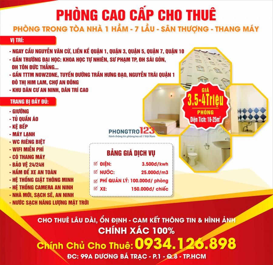 Cho thuê phòng đầy đủ nội thất đường Nguyễn Văn Cừ. Giá 3,5 triệu/phòng 20m2