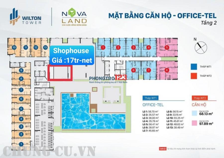 Cho thuê Shophouse chung cư Wilton hàng độc quyền từ NV Chủ đầu tư Nova Giá 17tr/tháng-net Diện tích : 56m2