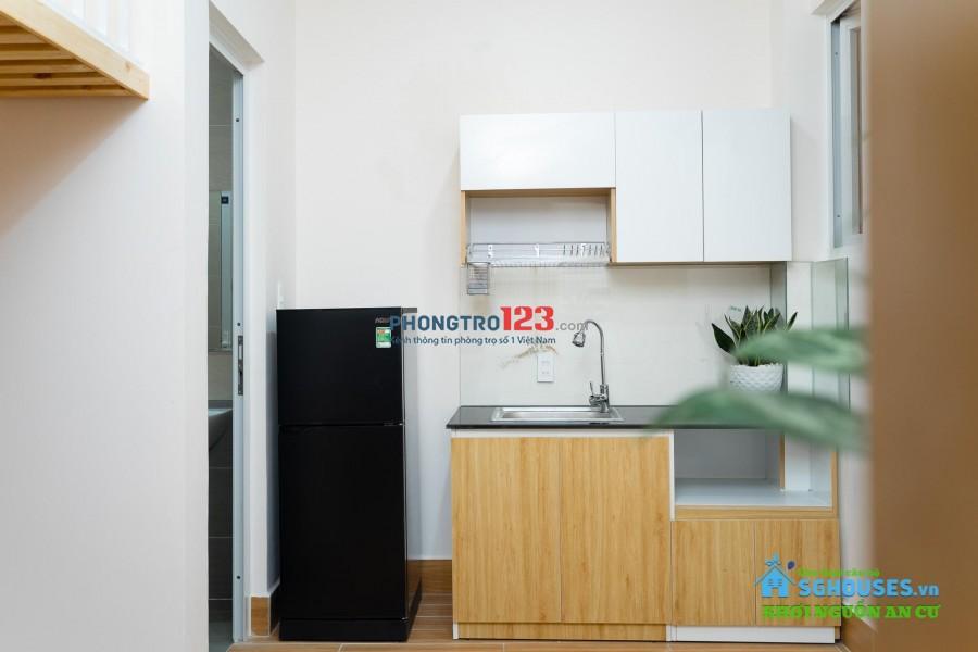 Cho thuê căn hộ mini có gác, mới 100%, full nội thất ngay Chợ Hoàng Hoa Thám