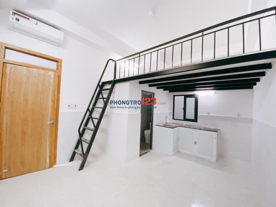 Căn hộ Mini gác cao, nội thất cơ bản và full nội thất, máy giặt free, cửa vân tay an ninh