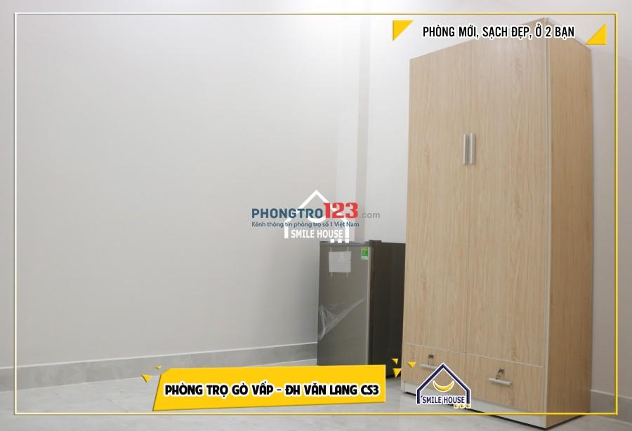Phòng 18m2, mới xây sạch sẽ, máy lạnh, tủ lạnh..2 phút tới ĐH Văn Lang cs3