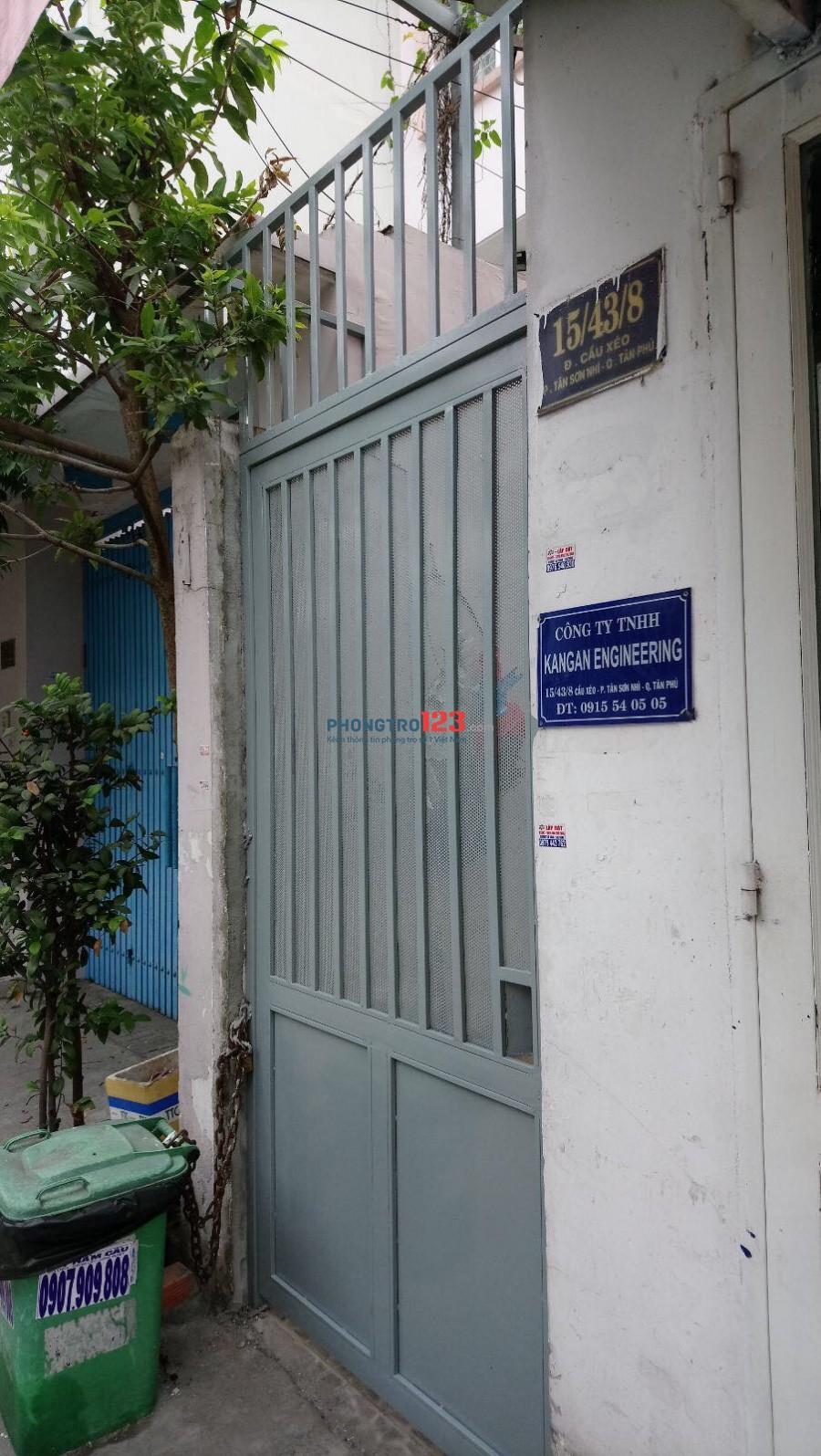 Phòng trọ 25m2 đường Cầu Xéo, Quận Tân Phú