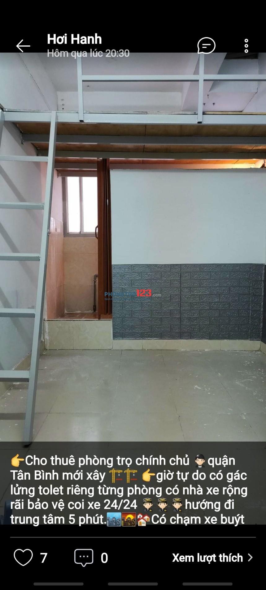 Phòng mới xây dựng giá bình dân tại Đường Độc Lập Tân Phú