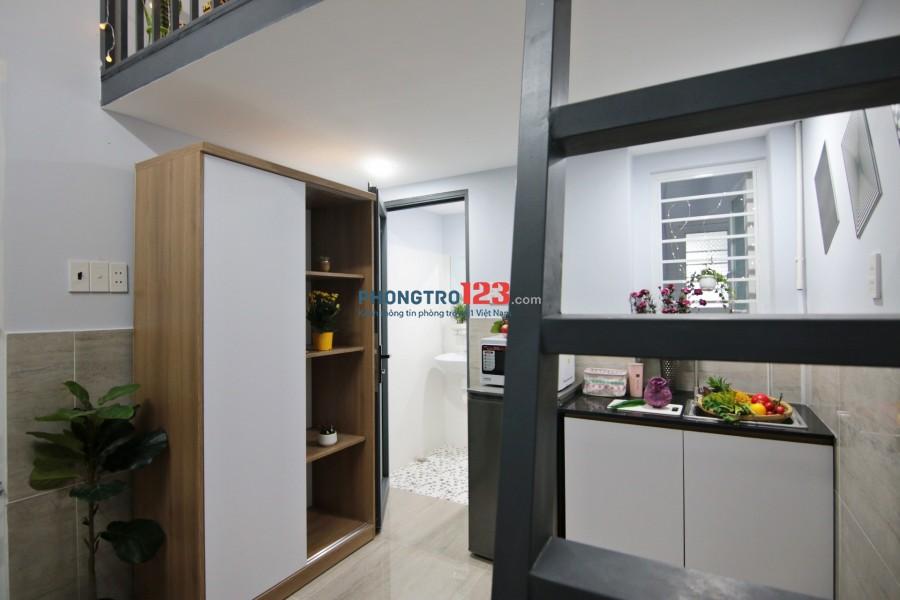 Phòng STUDIO có gác lửng, FULL tiện nghi, Ban công rộng - ngã tư Hàng Xanh – Q. Bình Thạnh