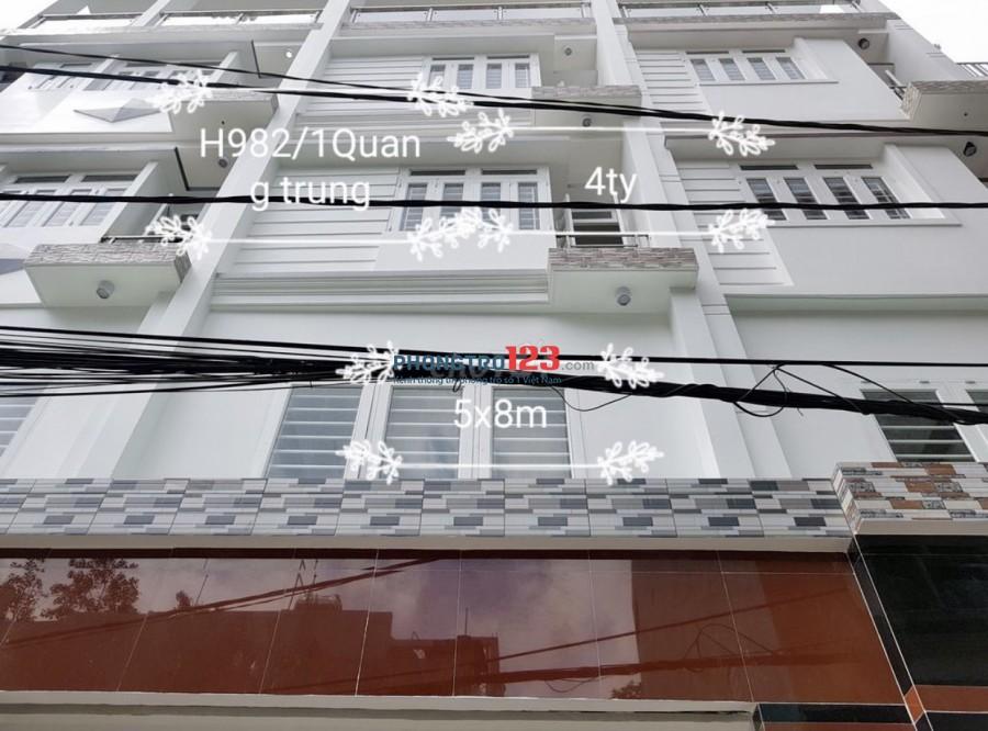 Chính chủ cho thuê nhà NC 4 lầu tại 982/1A Quang Trung P8 GVấp giá 16tr/th