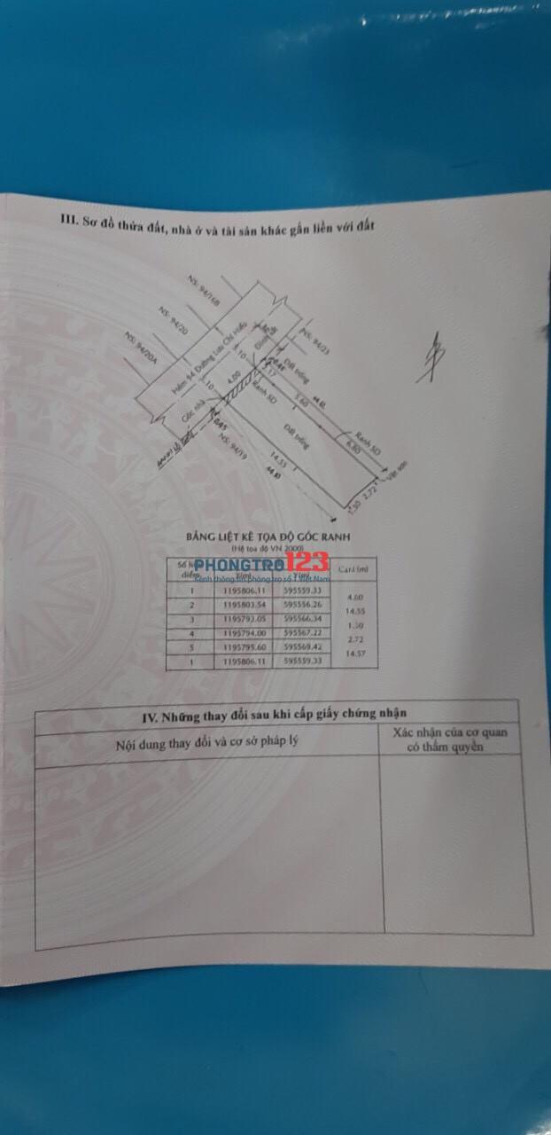 Chính chủ cho thuê MB đất thổ cư tại Lưu Chí Hiếu P Tây Thạnh Q Tân Phú