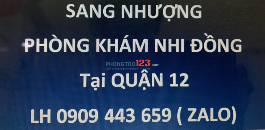 Cần Sang Phòng khám Nhi nhà mặt tiền Tô Ký P Trung Mỹ Tây Q12 giá 370tr