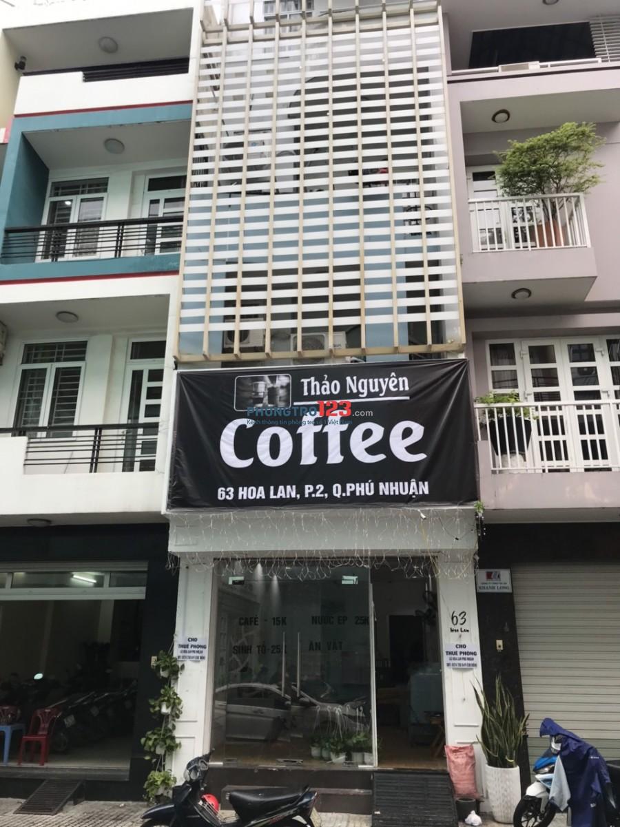 Cho thuê phòng và MB nhà mặt tiền 63 Hoa Lan P2 Q Phú Nhuận giá từ 3tr/th