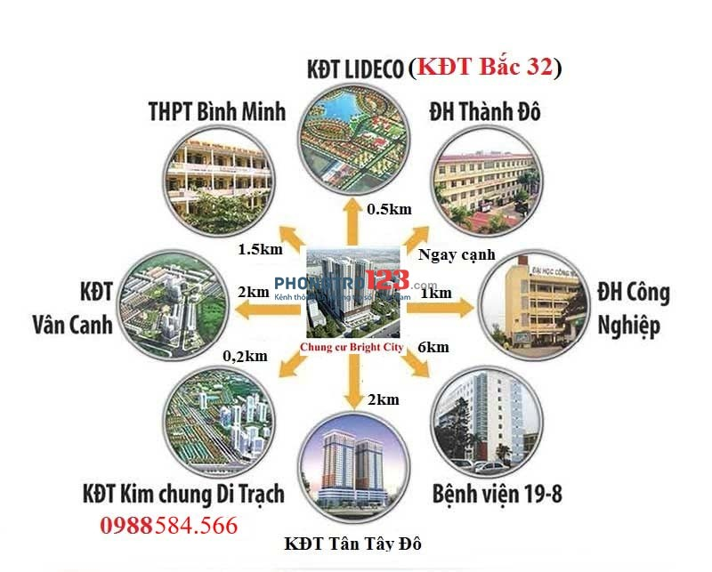 Chính chủ cho thuê căn góc 2 phòng ngủ 709 tòa A1.1 dự án Brighcity diện tích 61,1m2 giá 4,5tr