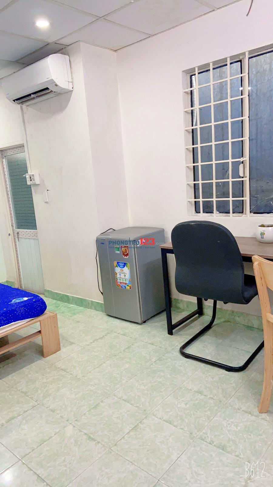 Phòng trọ 25m2 full nội thất, máy lạnh, toilét riêng