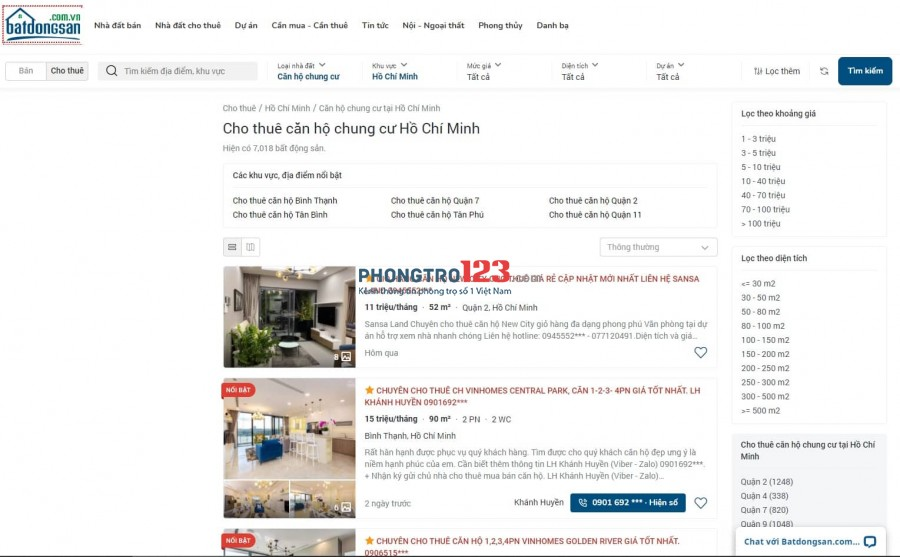 Hình ảnh trang web Batdongsan.com.vn