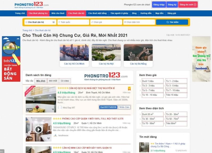 Hình ảnh trang web Phongtro123.com