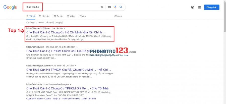 """Search từ khóa """"thue can ho"""" trên google - Thuecanho123.com top 1"""