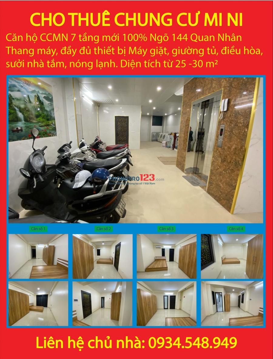Cho thuê căn hộ mini rộng từ 25m2 đến 30m2 tại 144 Phố Quan Nhân, Quận Thanh Xuân