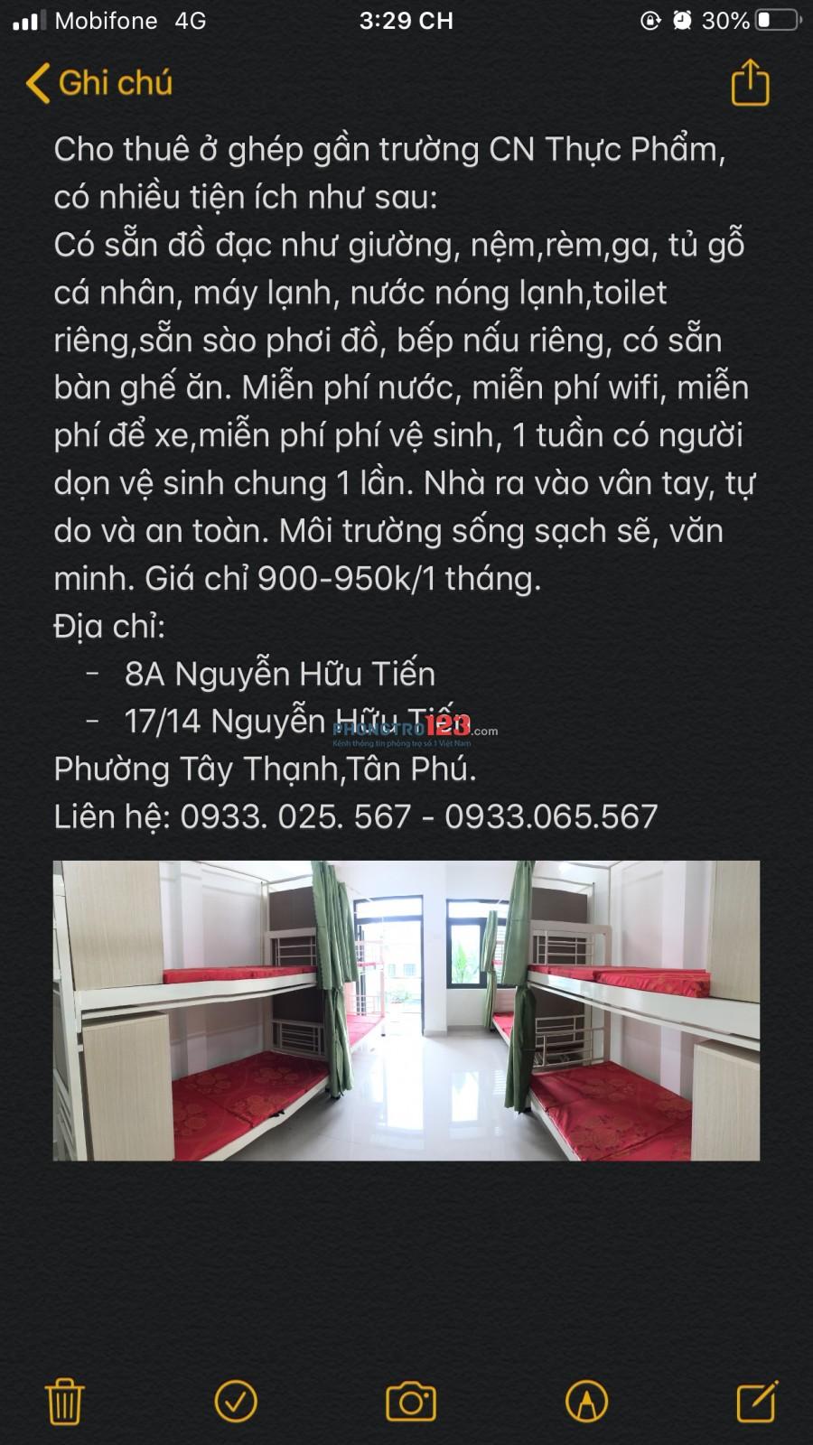 Cho thuê phòng trọ tại 17/14 Nguyễn Hữu Tiến, Phường Tây Thạnh, quận Tân Phú